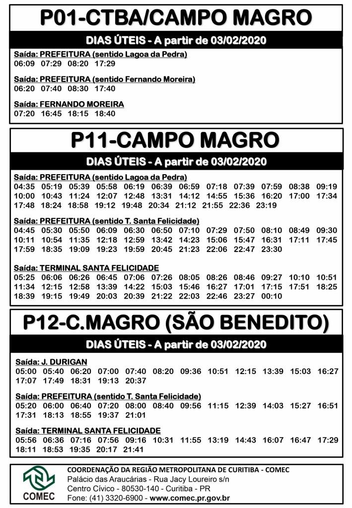P01 P11 P12 Campo Magro