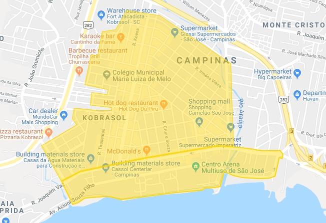 Mapa de atuação São José