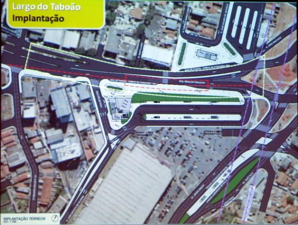 Arte da futura estação Largo do Taboão, que mais uma vez não tem data para inauguração. A última promessa é para 2019, mas vai atrasar.