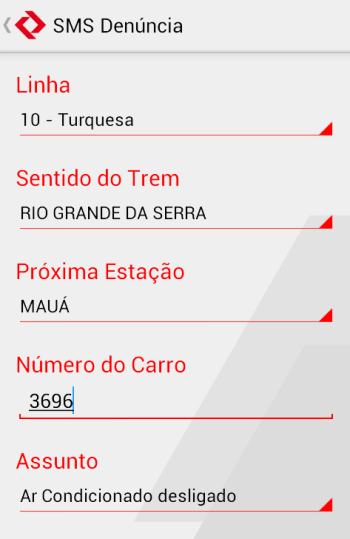 Tela do aplicativo da CPTM
