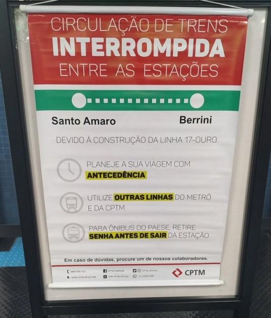 Circulação interrompida na Linha 9