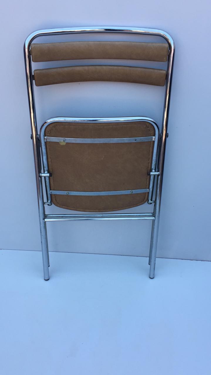 chaise pliante aluminium simili cuir marron