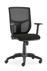 ALTER Une assise confortable qui s'adapte à la morphologie de chacun grâce à ses réglages de tension du dossier et de la hauteur de l'assise. Roulettes sol souple.