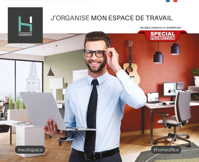 Promo Harmony ->31/01/21 – J'organise mon espace de travail #workspace #homeoffice – MobilierDeBureauAlençon.fr