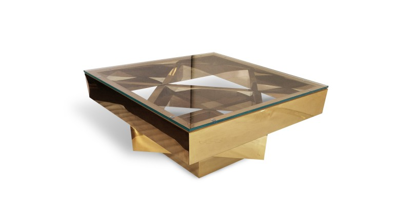 table basse carree doree et verre charlize doree