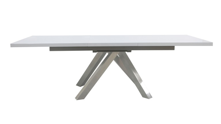 table de salle a manger plateau blanc brillant pied inox brosse roma