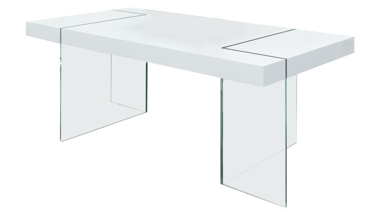 table a manger pieds verre rectangulaire crystalline