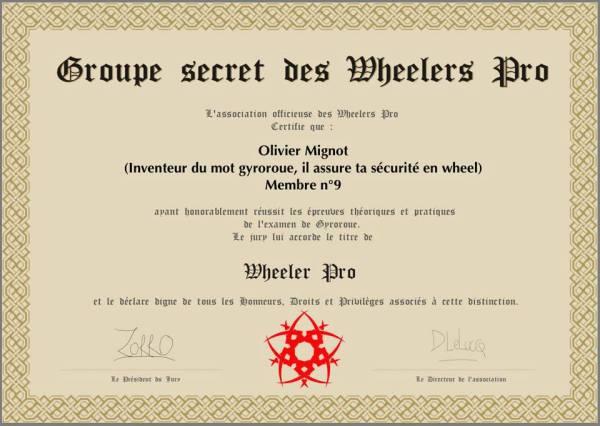Diplôme de WheelerPRO : Olivier MIGNOT