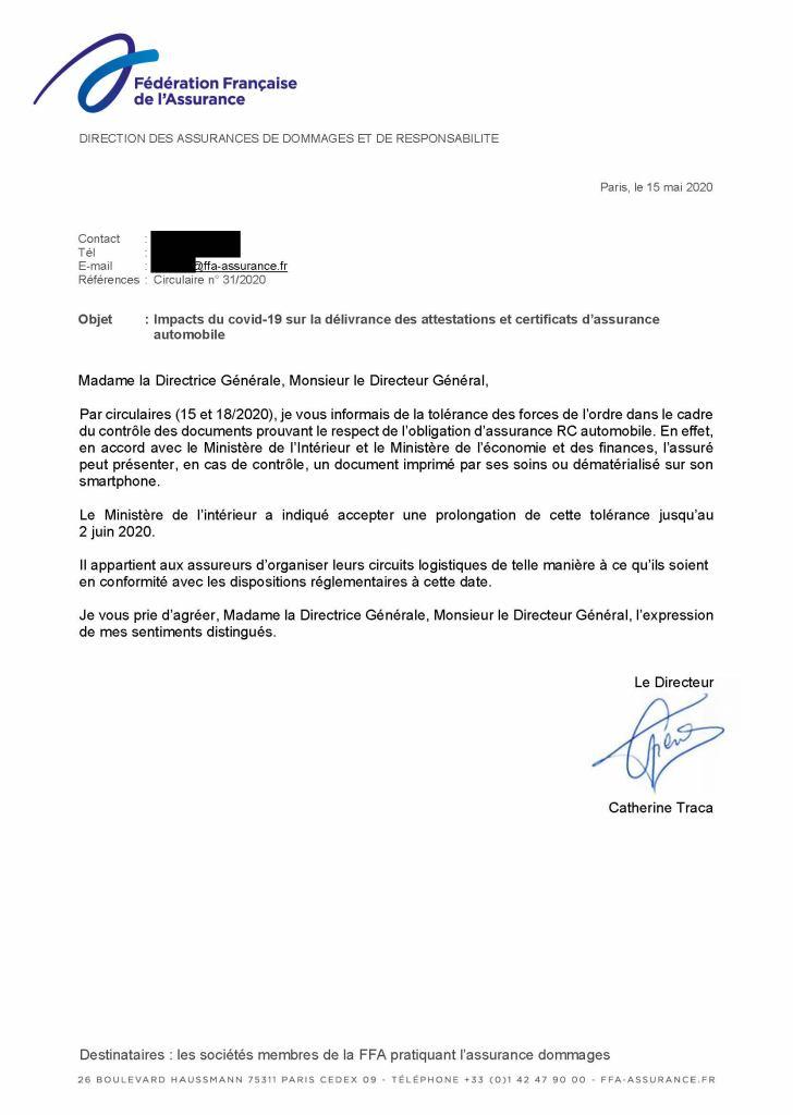 Lettre FFA tolérance contrôle assurance Covid19