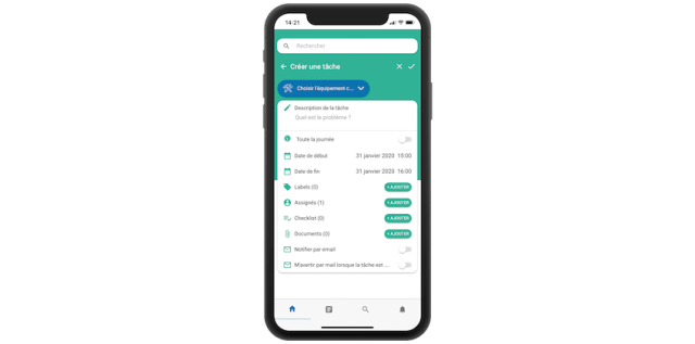 gmao mobile création checklist