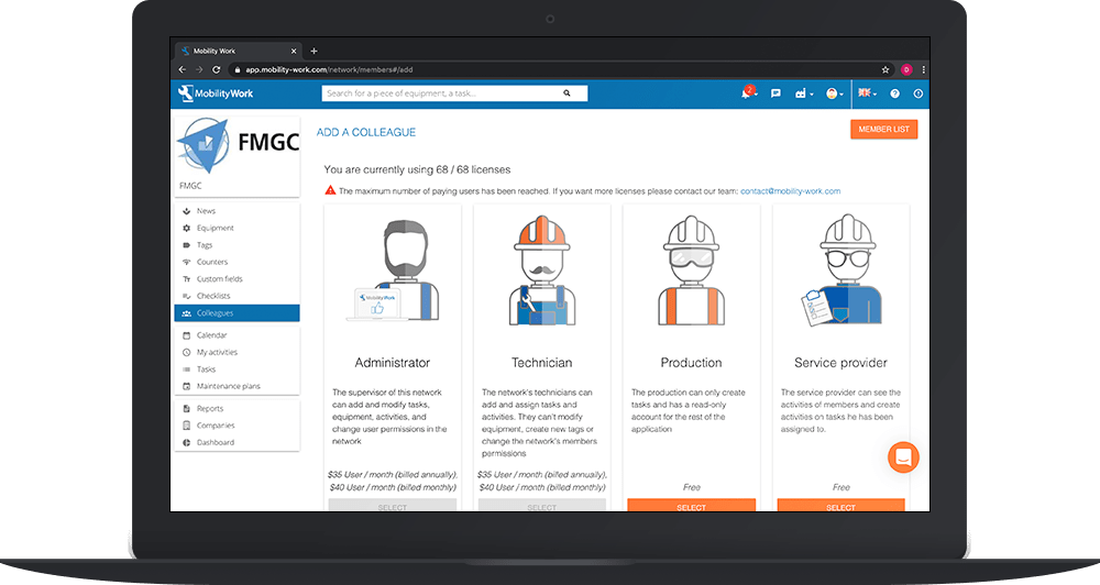 Manage your users and easily set up your CMMS software