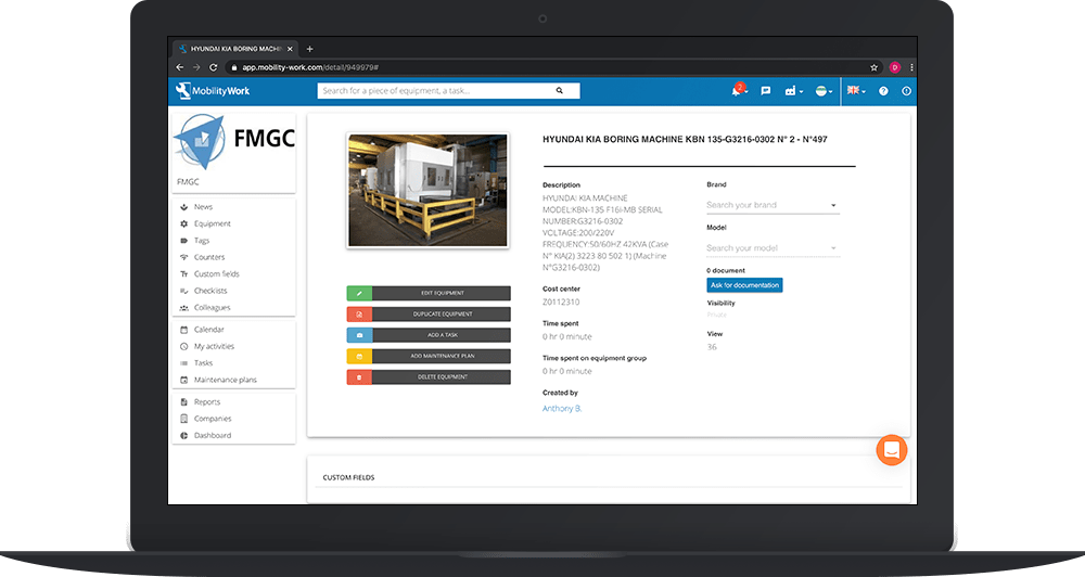 Duplicate an existing piece of equipment from the community-based CMMS