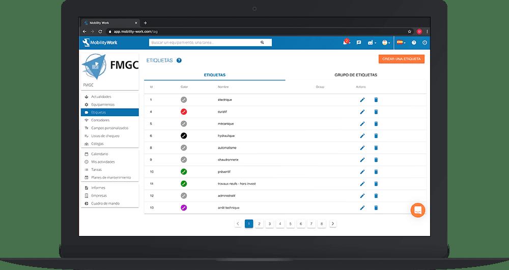 Personalizar datos de mantenimiento gracias a las etiquetas en la GMAO