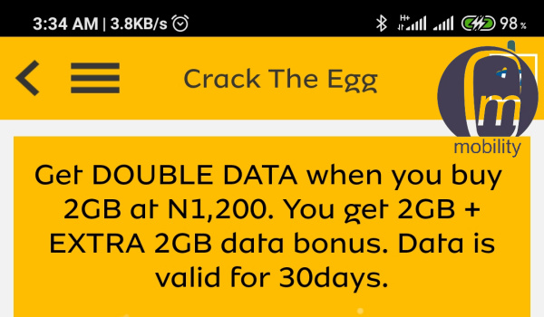 MTN 4gb for 1200 naira mobility Nigeria