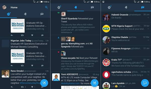 Twitter for Android Night Mode or Dark Mode
