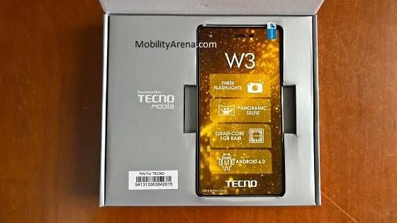 TECNO W3 Photos box open