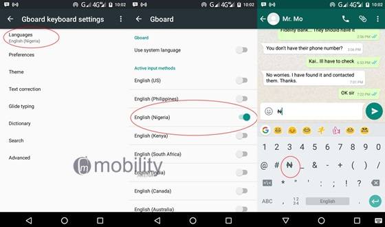 Gboard keyboard integrates the Naira sign / symbol