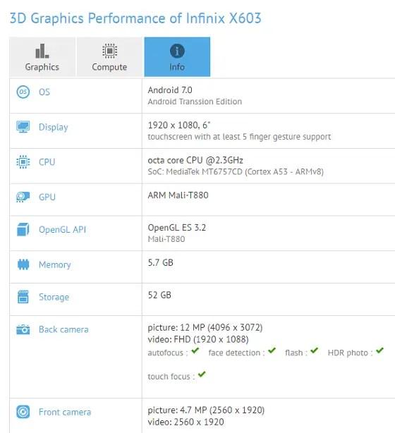 Infinix X603 - GFXBench
