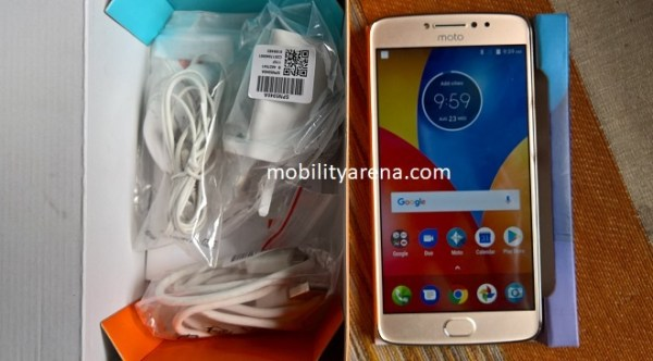 Moto E4 Plus box open beside