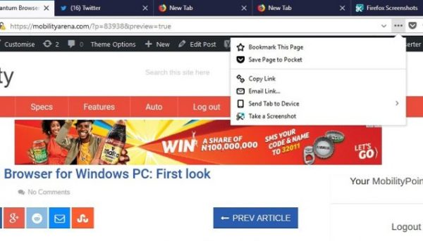 Firefox Quantum Browser for Windows PC screenshot actions