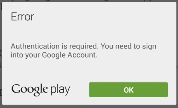 Google Play Authentication required