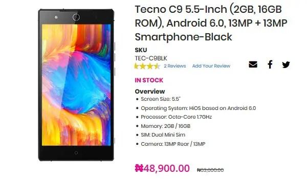 Deal Alert TECNO Camon C9 for N48900