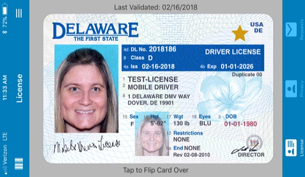 Delaware mobile Driver License app screenshot