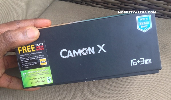 TECNO Camon X Unboxing box side