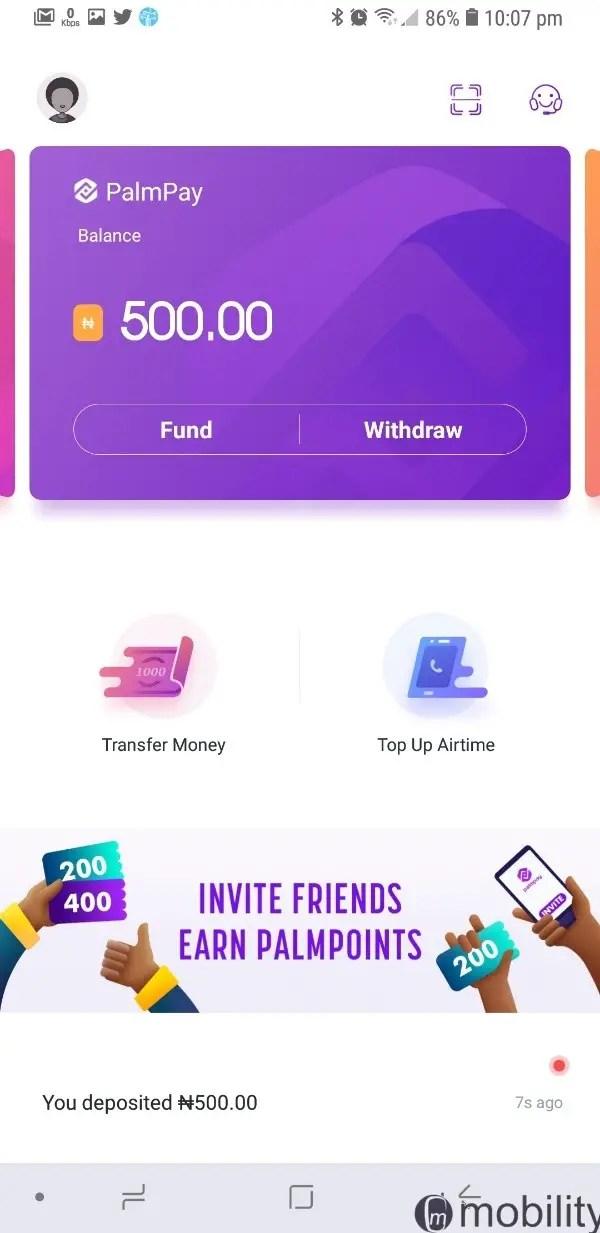 PalmPay balance after funding