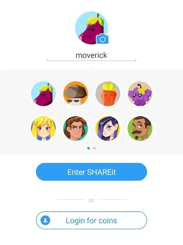 SHAREit app choose username