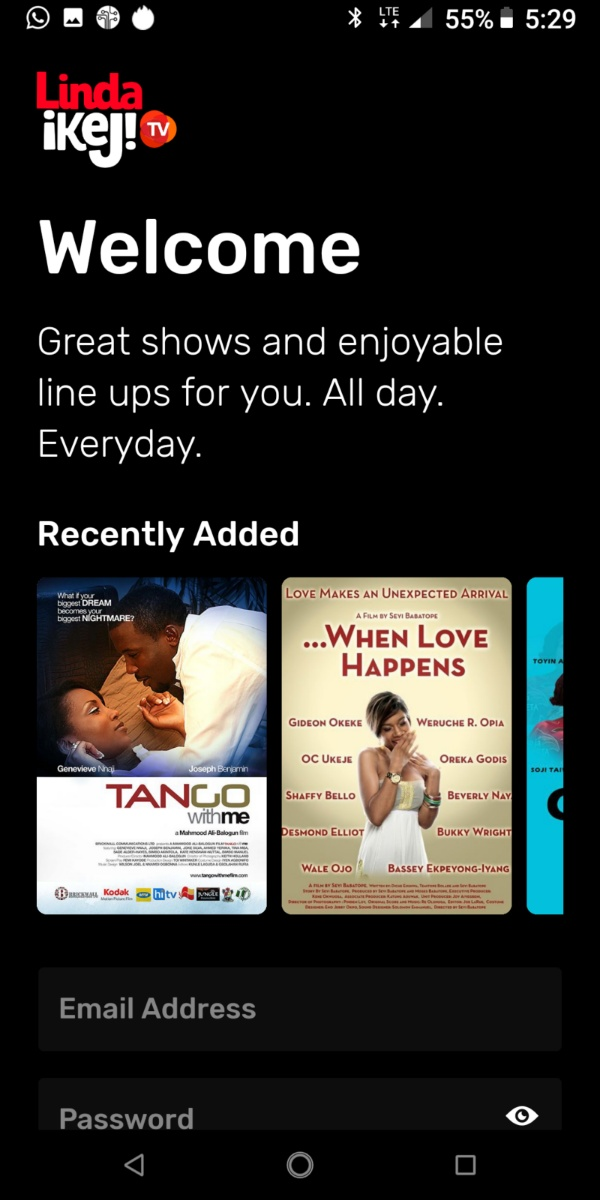 linda ikeji tv app user welcome page