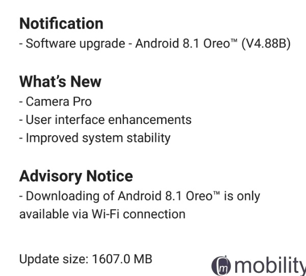 nokia 8 oreo update notification