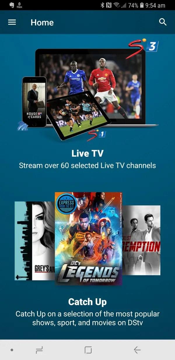 DStv Now app home