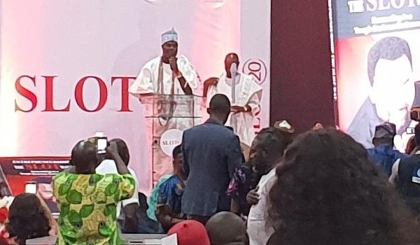 Ooni of Ife giving his speech at Slot Systems 20th anniversary