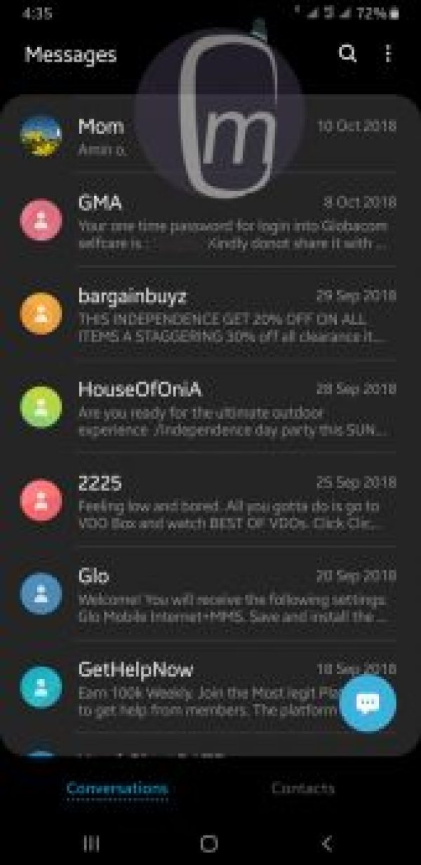 Samsung one ui Night Mode Messages