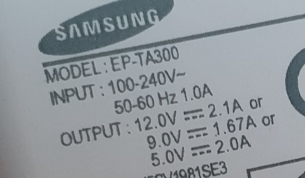 samsung fast charger rating