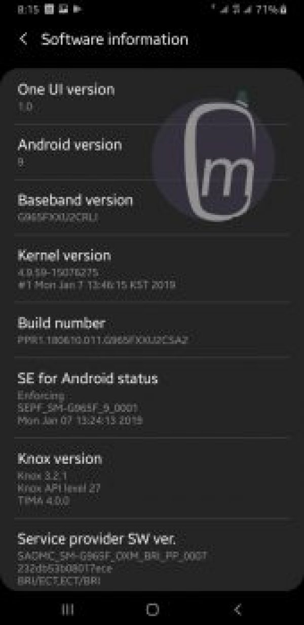 samsung one ui Night Mode software info