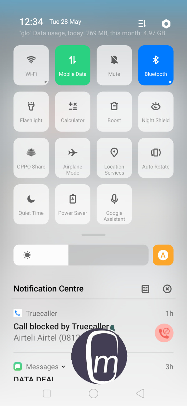 Oppo f11 pro drop-down menu