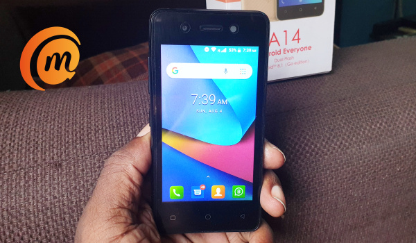 iTel a14 review - phone in hand homescreen