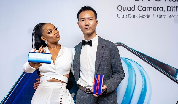Toke Makinwa, OPPO Brand Influencer and Kris Cao, Marketing Director, OPPO Mobile at the launch event