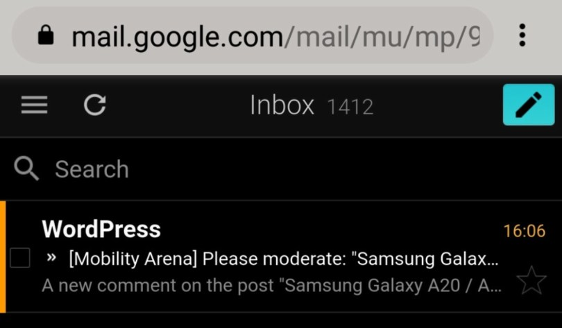 Gmail via mobile web browser