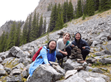 Mobilizers hiking while on deployment in their Rocky Mountain jobs in Alberta