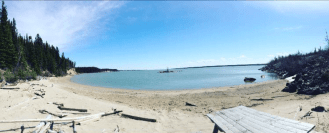 Beach day for Mobilizers during their Canada summer jobs placements in Gillam, Manitoba.