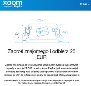 xoom zarób 25 euro
