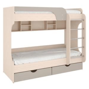 Кровать двухъярусная Юнга (Дуб молочный/серый камень)