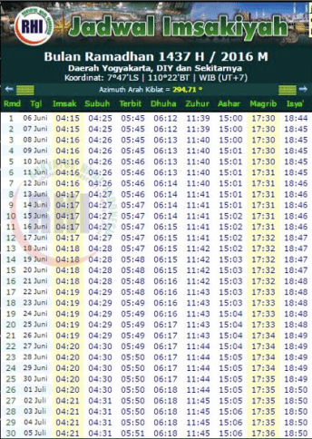 jadwal imsakiyah 1437 H yogyakarta DIY