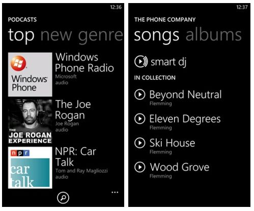 media hub in Windows Phone 7 Mango