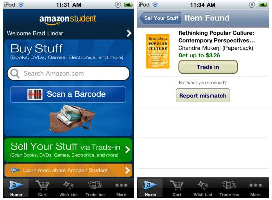 Amazon Student app for iOS lets you sell buy, sell used