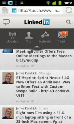 LinkedIn Mobile web app
