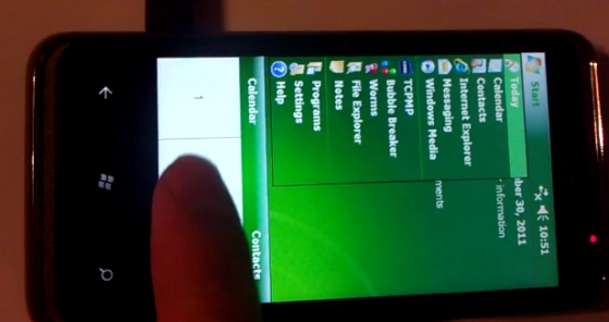 HTC HD7 with Windows Mobile 6 in WML